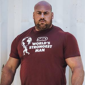 Футболка World's Strongest Man 2021 (бордовая)